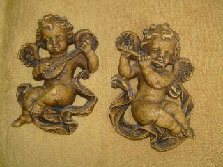 2 Geschnitzte Engel Holz Mit Instrumenten Geige Und Flöte,  Musikengel Bild