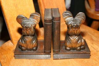 Vintage Holz - BuchstÜtzen ' Jack Russel ' Terrier,  Handarbeit Schnitzerei RaritÄt Bild