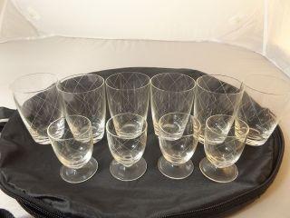 Gläser Alte Gläser Handgraviert Sehr Dünnes Feines Glas 2 Verschiedene Formen Bild