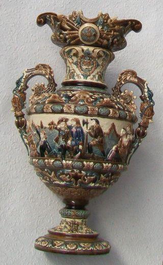 Prunk Vase,  Gerbing & Stephan,  BÖhmen,  Majolika,  1850 - 1890,  Maskaronen Bild