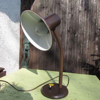 Schreibtischlampe Tischlampe Schwanenhals 60er - 70er Jahre,  Braun Bild