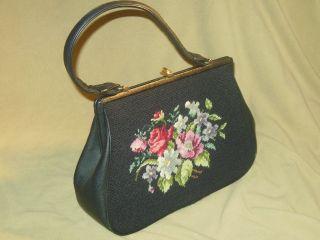 Vintage 50er 60er Gobelin Stickerei Handtasche Tasche Mid Century Damentasche Bild