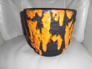 70 - Er Jahre Keramik Handarbeit Übertopf Blumentopf Lava Fat/lavaglasur Bild