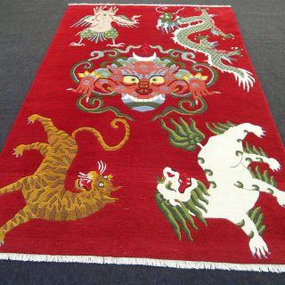 Orient Teppich Drache Rot 266 X 181 Cm Bildteppich Red Carpet Rug Dragon Tappeto Bild