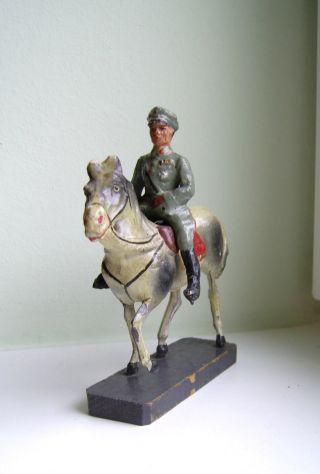 Elastolin Reiter Mit Pferd Um 1930er Jahre Vieleicht Lineol 9 Cm Serie Bild