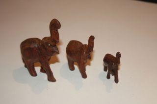 Elefanten - Handgeschnitzt Aus Tropenholz - Sehr Alt -. Bild