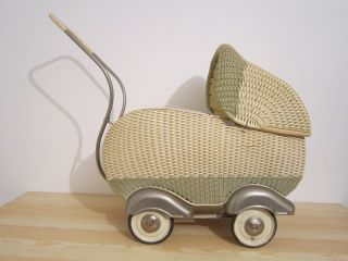 Alter Korbkinder - Puppenwagen 40er - 50er Mit Originalen Bett Bild