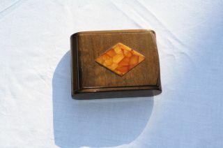 Zigarettendose Holz Mit Bernstein,  Wunderschön Und Bild
