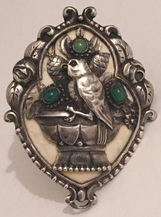 Antike Jugendstil Silber Bein Brosche Bild