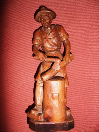 Schnitzerei Holzfigur Holzfäller Aus Einem Stück Unikat Bild