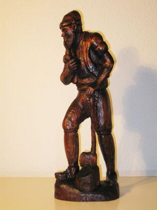 Große Alte Holzfigur Holzfäller Waldarbeiter Geschnitzt Figur Holz Höhe: 49 Cm Bild