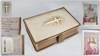 Antikes Gebetbuch Modlitebni Aus Bein Um 1890 Tschechien Czech Ceska Prag Praha Bild