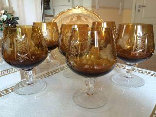 6x Nachtmann Kristall RÖmer Cognac Gläser Wie Kristallglas Gläser Edel Bild