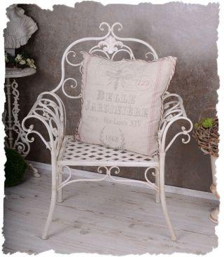 Viktorianischer Gartenstuhl Vintage Sessel Wiess Stuhl Landhausstil Garten Bild