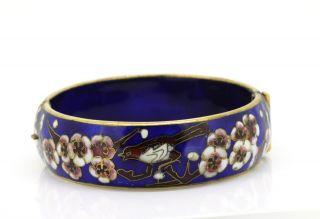 Schöner Armreif - Emaille - Vergoldet - Blumen Und Vogel - Floral Verziert Bild