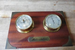 Alte Wetterstation,  Hygrometer,  Barometer,  Holz,  Messing,  Glas,  Atlanticclub,  W.  Germany Bild