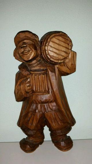 Holzfigur Skulptur Mann Bierbrauer Mit Bierfass & Glas Geschnitzt Ca.  40 Cm Bild