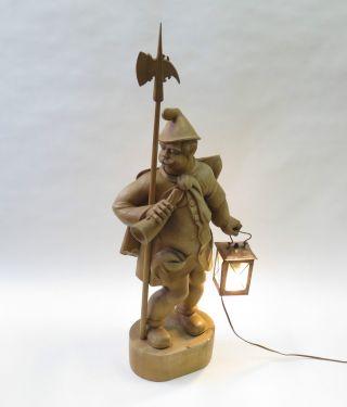 Holzfigur Nachtwächter Mit Elektrischer Laterne - Echtholz - Schnitzerei Bild