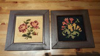 Gobelin 2 Bilder,  Motiv Blumen In Rahmen Bild