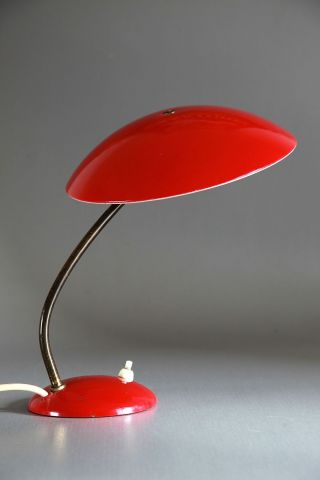 Kaiser Tischlampe 6781 Rot Um 1960 Midcentury 50er 60er 70er Bild