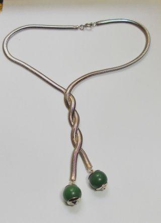 Artdeco Kette Von Jakob Bengel - Chrom/ Grünes Galalith Schlangenkette Bild
