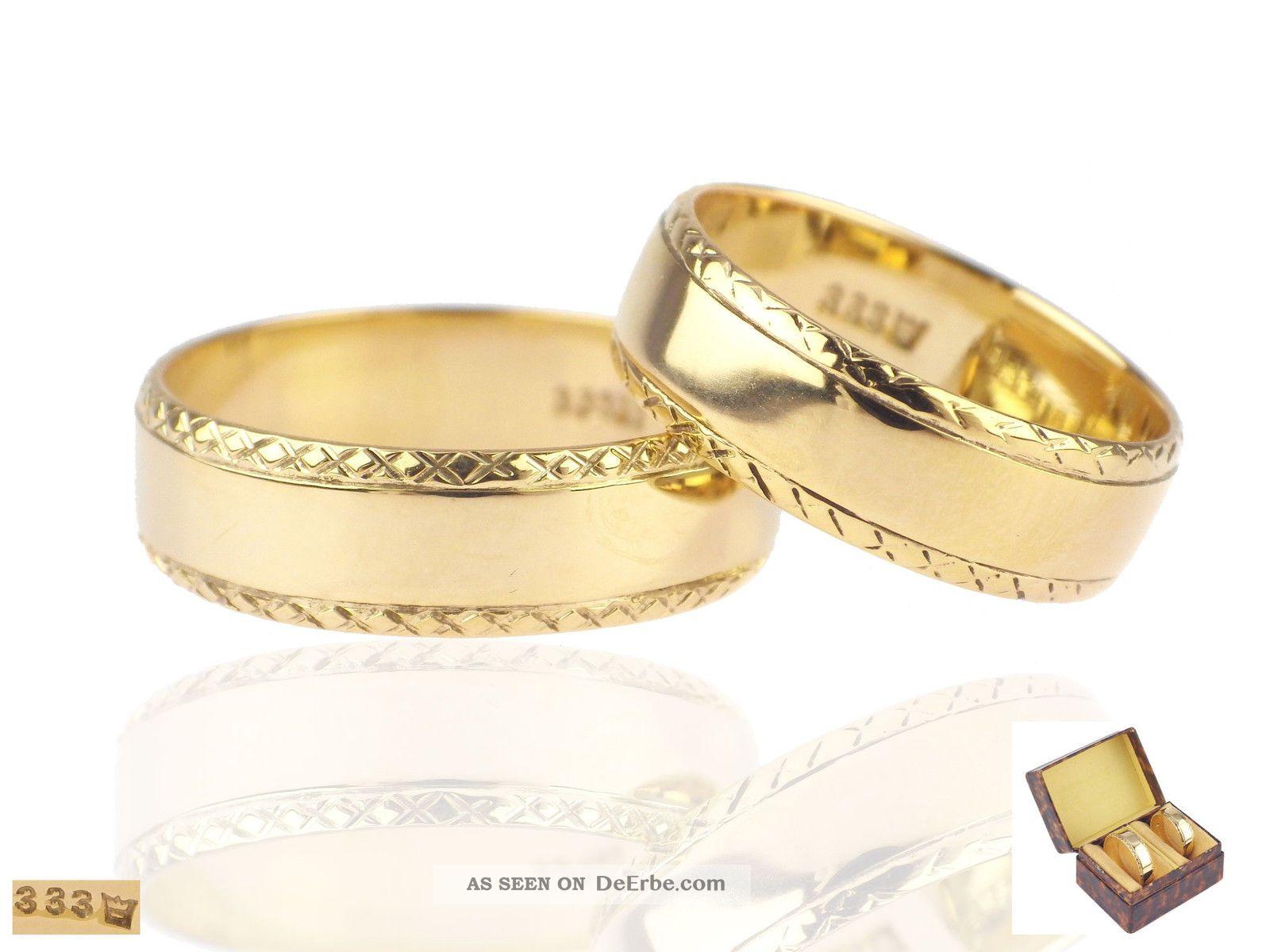 Art Deco Lachmann Gustav Gera Reuss 333 Gelb Gold Eheringe Hochzeit