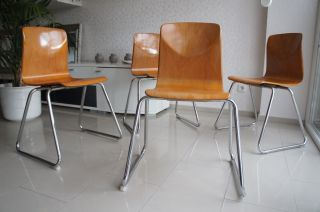 4x Stuhl Stapelstuhl Stühle Chrom Pagholz 60s 70s Mid Century Bild
