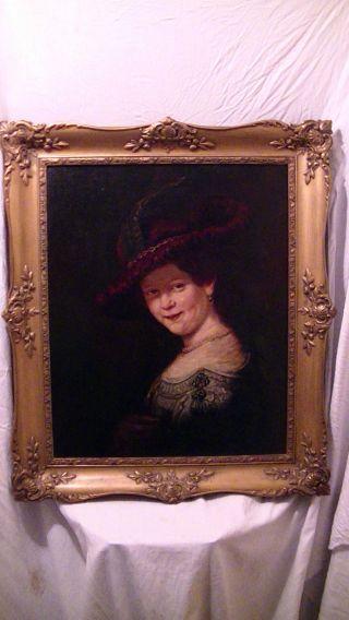 Altes Ölgemälde,  Gemälde,  Adlige Frau,  Signiert Im Prunk Rahmen,  Antik Bild