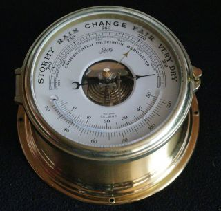 Schatz Compensated Precision Barometer Schiffsbarometer Mit Thermometer Bild