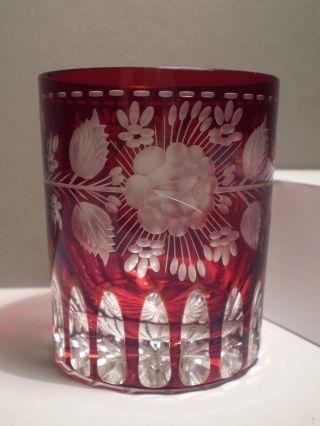 Biedermeier Bäderglas Bemalt / Perfekt / Glasbecher Rubin Überfangglas Bild