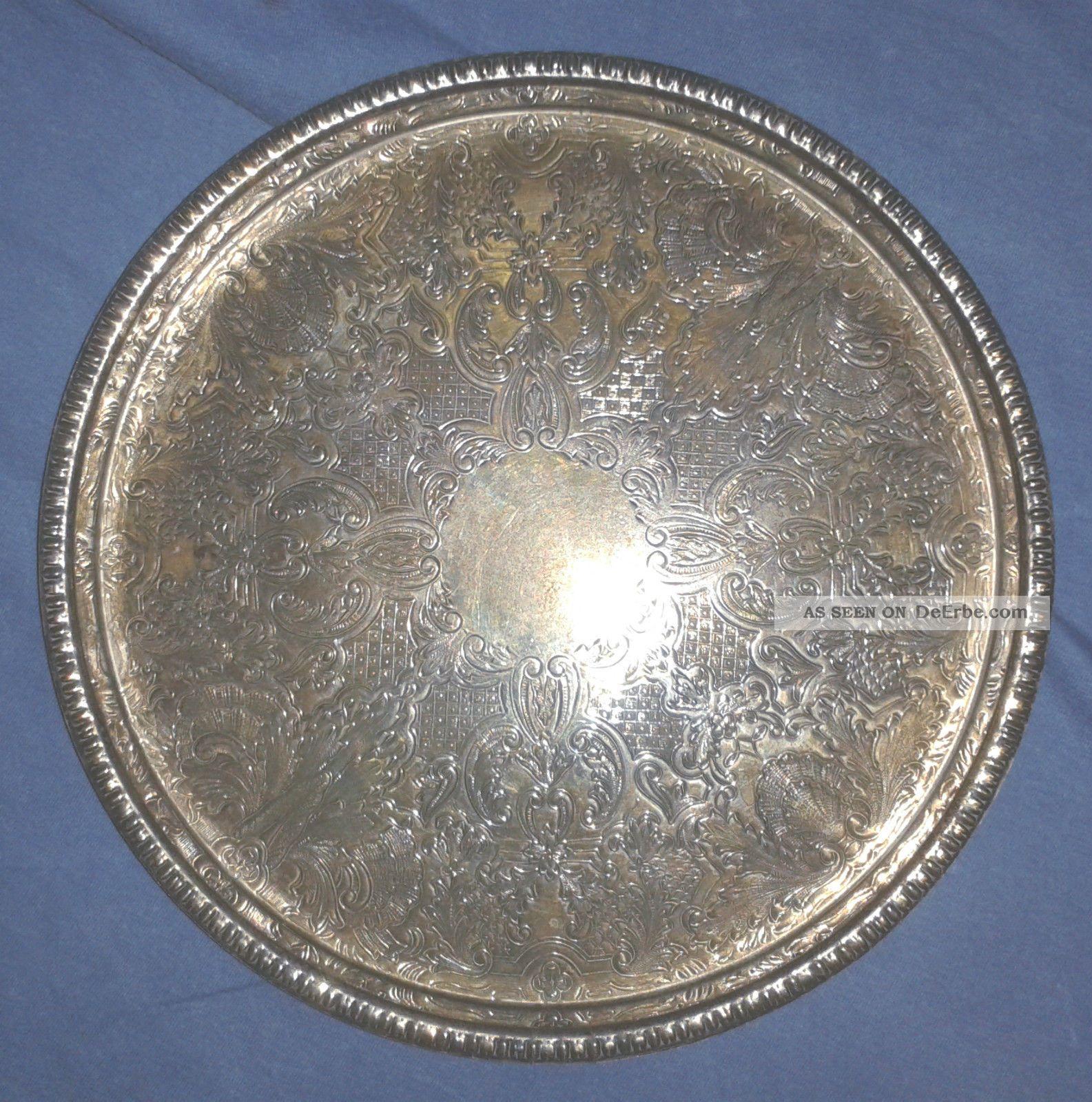 versilbertes tablett rund silver plated england antik silbertablett shabby chic. Black Bedroom Furniture Sets. Home Design Ideas