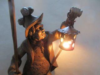 Große Alte Holzfigur NachtwÄchter Höhe 58 Cm Mit Stab 84cm,  Beleuchtung Um 1950 Bild