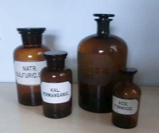 Apothekerflaschen - 4 Stück - Verschiedene Größen - Braunglas - Mit Beschriftung Bild