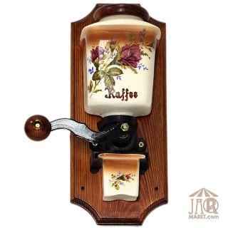 Wand Kaffeemühle Keramik - Wand Deko - Wandkaffeemühle Wandmühle - Rosenmotiv Bild