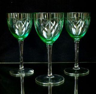 3 Art Deco,  Uran,  Urangläser Weingläser Glas Antikglas Römer Kristall Grün Bild