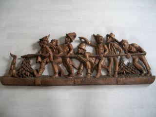 Alte Sehr Grosse Schnitzerei Wandrelief Holzarbeit - Josef Ohmayer Obersdorf Bild