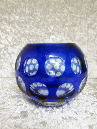 Bleikristall - Kugelvase,  Überfang - Blau Bild