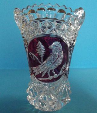 Vase Bleikristall Red Bird,  Kristall,  Roter Vogel,  Hofbauer Bild