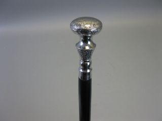 Holz Spazierstock Gehstock Wanderstock Vintage Walking Stick Silbern 93cm Bild
