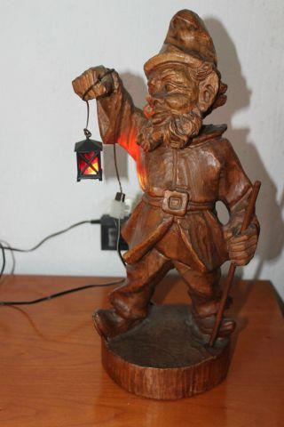 Holzfigur - Zwerg Mit Laterne (leuchtfunktion) Bild
