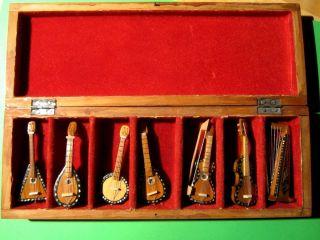 Miniaturinstrumente Aus Holz In Feinem Holzkasten Bild