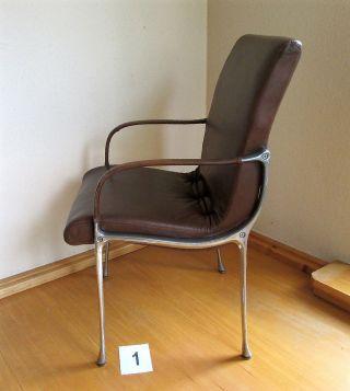 Außergewöhnlicher Designerseesel,  Sessel,  Stuhlsessel,  Art Déco,  Aluminium,  Leder,  (1) Bild
