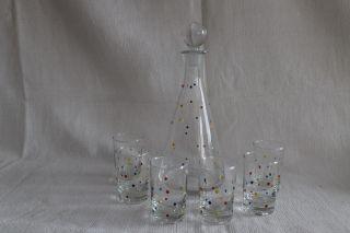 Likör Glaskaraffe 0,  3 L Mit 6 Gläser 50er Jahre Selten Email Punkte Bild