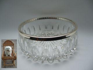 Schwere Kristallschale 2 Kg Schüssel Mit Metallmontur Ø 19,  5 Cm Bild