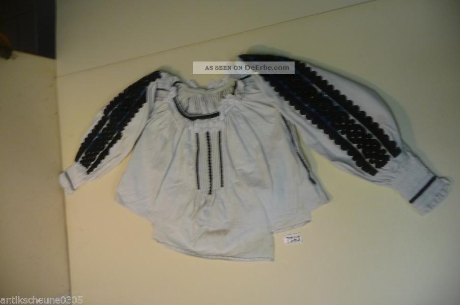 7349.  Alte Leinen Trachtenbluse Bluse Hemd Kleidung Bild