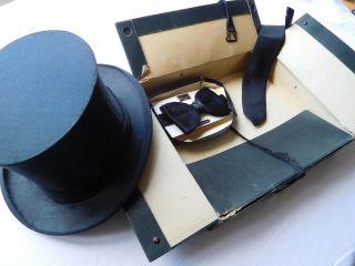 Antik Klapp Zylinder Chapeau Claque Faltzylinder Schwarz Karton Fliege Schlips Bild