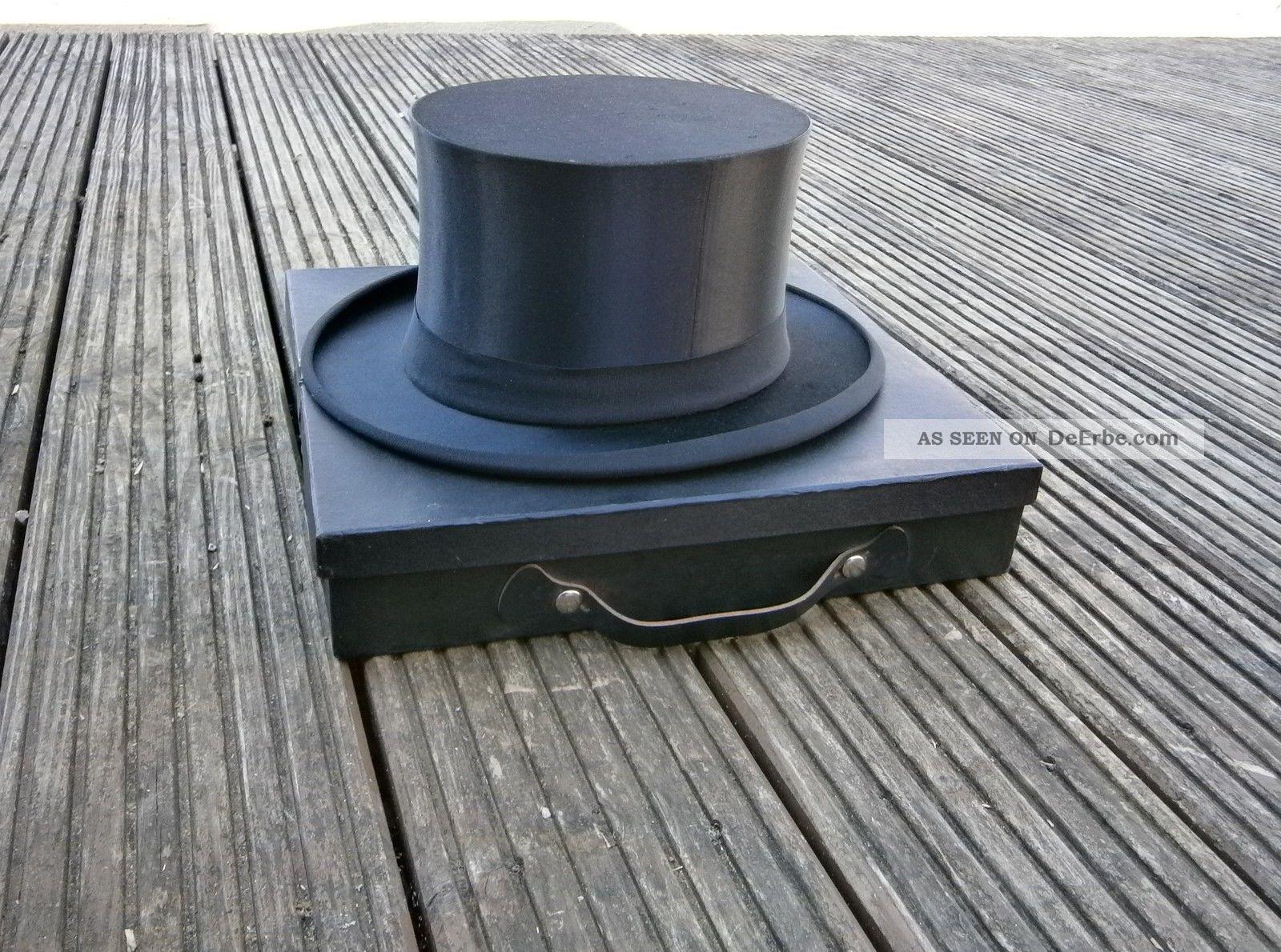 Chapeau Claque Gr.  60 - 61 Schöner Mit Koffer Zylinder Klappzylinder Accessoires Bild
