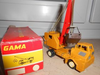 Baufahrzeug Alt Blech Baggerwagen Gama Faun 1960 Lkw Kranwagen Bagger Lastwagen Bild