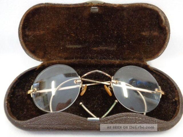 Antike Rahmenlose Brille Gestempelt Golddoublé Mit Etui Accessoires Bild