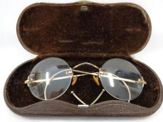 Antike Rahmenlose Brille Gestempelt Golddoublé Mit Etui Bild